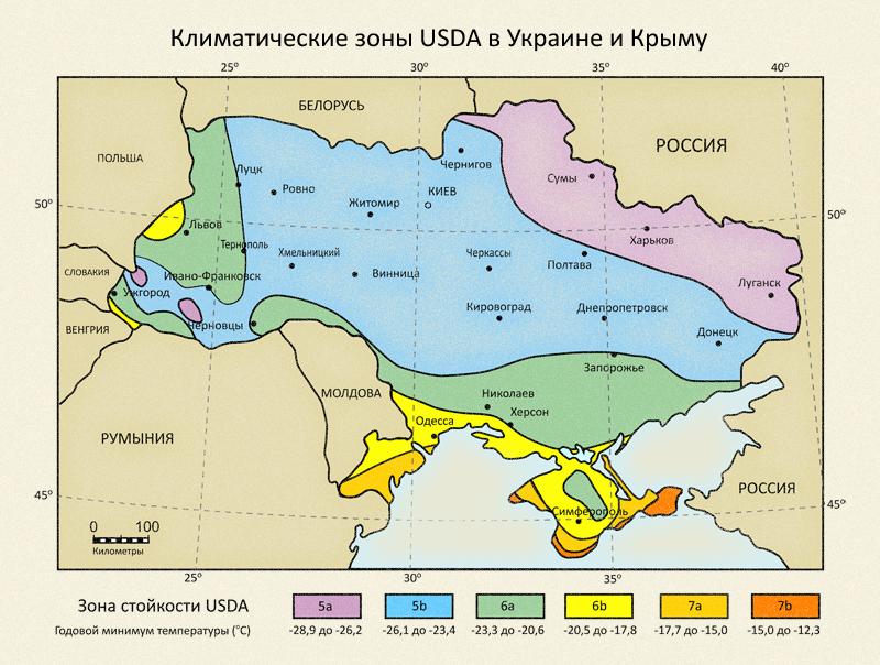 Карта климатических зон Украины и Крыма