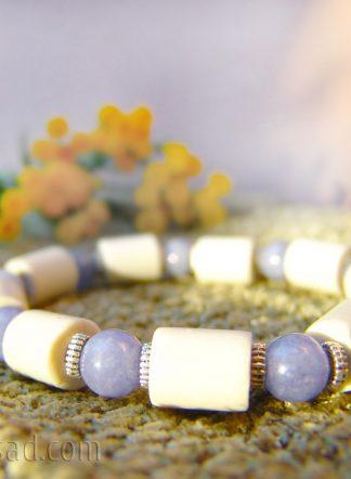 Браслет c ЭМ-керамикой и кварцем аквамарин